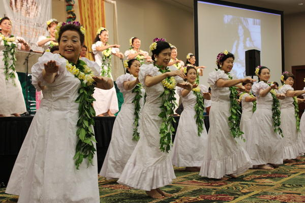 Japan Halau performs for hula conference attendees at a previous opening ceremony. The conference this year is May 17-19 in Waikiki.