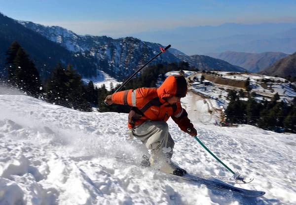 A skier heads down a slope at the Malam Jabba resort in Pakistan's Swat Valley.