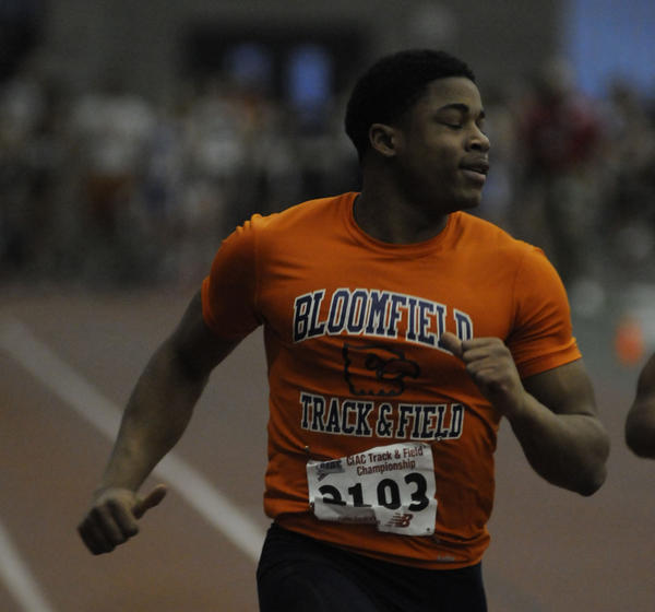 David Campbell of Bloomfield finishes first in the 55-meter dash in 6.55 seconds at the Class S boys and girls indoor track championships held in New Haven Thursday. He hadn't raced since Jan. 19 because of an injury.