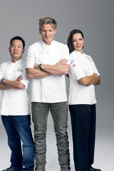 "Christina Wilson, the winner of Season 10 of ""Hell's Kitchen,"" poses with executive chef Kevin Hee (left) and Gordon Ramsay. Wilson is head chef for a year at Ramsay's steakhouse in Paris Las Vegas."