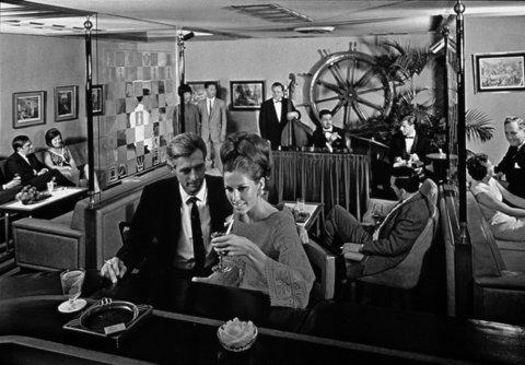 This is the Captain's Bar, circa 1960s, at the Mandarin Oriental in Hong Kong. The property is celebrating a half-century.