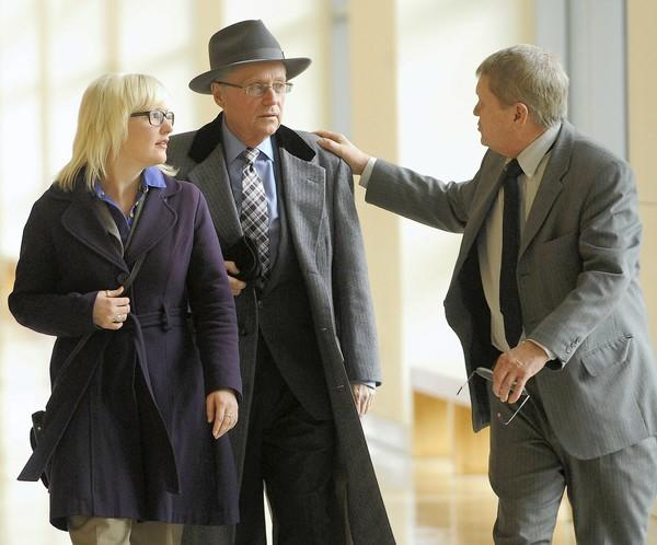 Attorney Rick Orloski (right) leaves Northampton County Courthouse with client Megan Thode (left) and her father, two days before losing a lawsuit against Lehigh University.