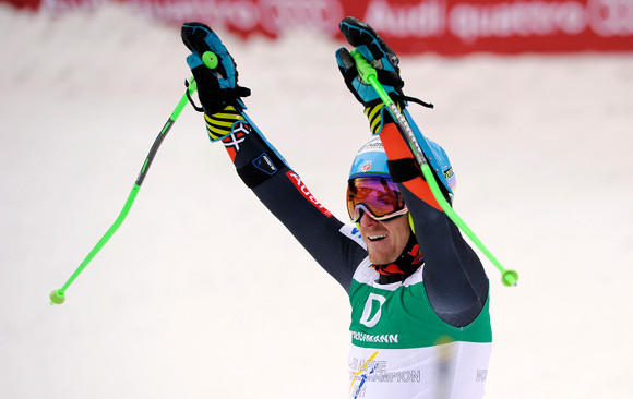 Ted Ligety exults after winning Friday's giant slalom for his third gold at 2013 World Championships.