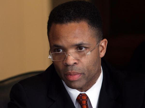 U.S. Rep. Jesse Jackson Jr. takes questions from the Chicago Tribune editorial board in 2012.