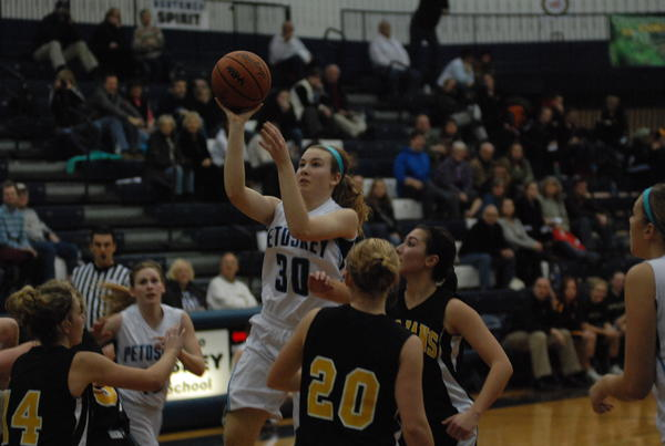 Petoksey senior guard Alyssa VanWerden (30) and the Northmen will face West Branch Ogemaw Heights in a Big North Conference contest at 6 p.m. today, Friday, at the Petoskey High School gym. The Northmen are in search of their 13th straight win.