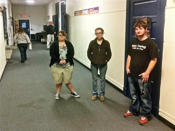 Cheyenne Wheeler, from left, April Jenkins and Zach Walls pose in the halls of Fort Logan High School in Stanford. All three believe Kentucky should raise its dropout age to 18.