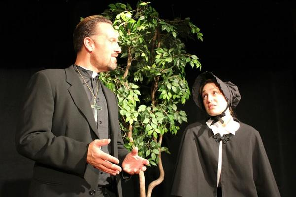 "Edward Otto Zielke plays Father Brendan Flynn and Yanina Aranes stars as Sister James in ""Doubt: A Parable"" at Andrews Living Arts Studio in Fort Lauderdale's F.A.T. VIllage"