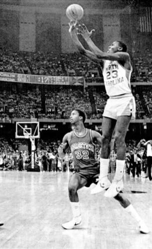 March 19, 1982: As a freshman at North Carolina, Jordan hit a 17-foot jumper from the left wing with 17 seconds remaining, which proved to be the winning basket in a 63-62 victory over Georgetown in the national title game. Jordan finished with 16 points on 7-of-13 shooting. His teammate, James Worthy, sealed the victory with a steal in the final seconds.