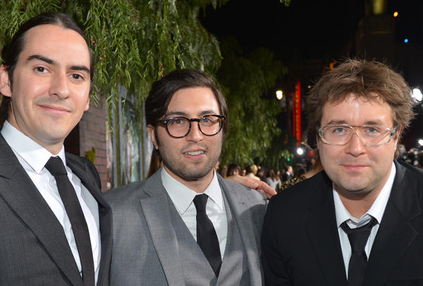 "From left, Dhani Harrison, Jonathan Sadoff and Paul Hicks of thenewno2 attend the premiere ""Beautiful Creatures"" in Hollywood."