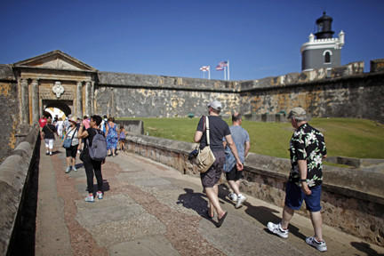 El Morro, a 16th century citadel, is a popular attraction in San Juan, Puerto Rico.