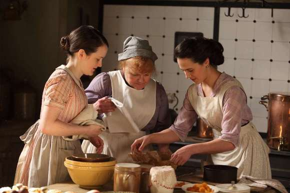 Mrs. Patmore, center, with Daisy, left) and the late Lady Sybil, right.