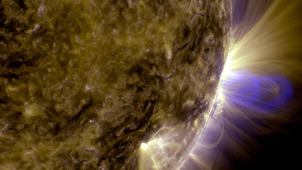 Magnetic loops on the sun are seen in this NASA handout image captured by NASA's Solar Dynamics Observatory.