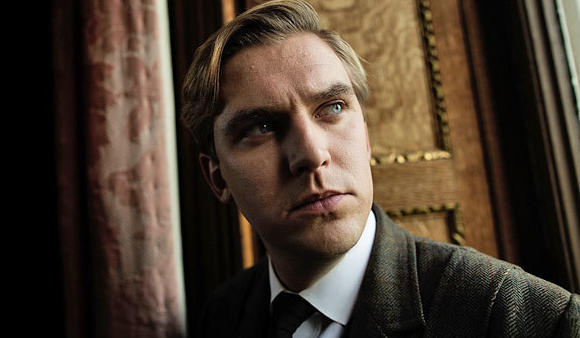 Dan Stevens during filming of season 3 of 'Downton Abbey'