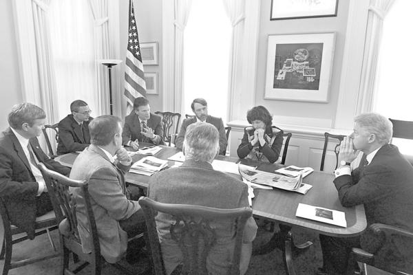 The President meets with small cattle producers and Senators Daschle and Johnson, to hear their concerns about current situations within the industry. Counter Clockwise from the President: Kathleen Kelly, a rancher from Colorado, Bob Mack, a rancher from South Dakota, Senator Daschle, White House Chief of Staff John Podesta, Senator Jim Johnson, Herman Schumacher of South Dakota, and Leo McDonnell, rancher from Montana, President of R-CALFand appointed member of USDA/USTR trade advisory committee.   Photo by Sharon Farmer  Feb 23, 2000