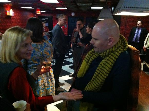 Billy Corgan talks with Tribune VP and Associate Editor Joyce Winnecke in Highland Park.
