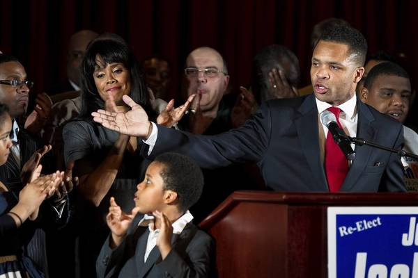 U.S. Rep. Jesse Jackson Jr., 2nd Congressional District of Illinois thanks supporters an election night party at Parkway Ballroom in Chicago.