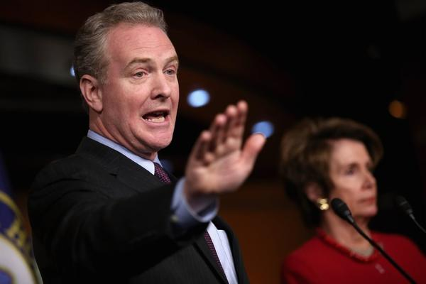 Rep. Chris Van Hollen (D-Md.), the top Democrat on the House Budget Committee, and House Minority Leader Nancy Pelosi (D-San Francisco) answer reporters' questions about looming budget cuts during her weekly news conference at the U.S. Capitol on Thursday.