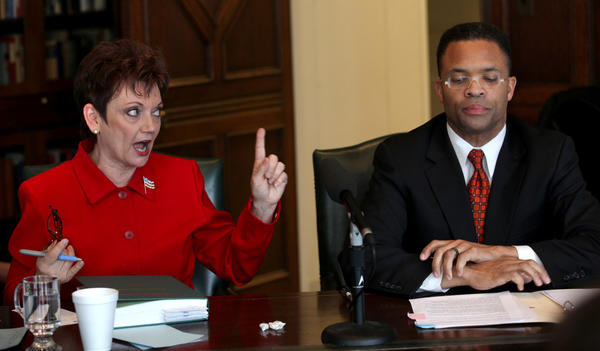 Former U.S. Rep. Debbie Halvorson scolds U.S. Rep. Jesse Jackson Jr. for interrupting her as the Democratic rivals appear before the Chicago Tribune editorial board. Jackson defended himself amid a House ethics inquiry, but Halvorson said the inquiry was keeping him from doing his job.