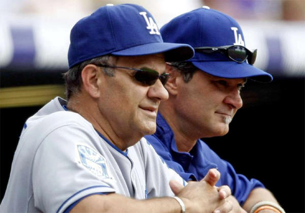 Don Mattingly, right, served as the Dodgers' hitting coach under Joe Torre before taking over as the manager of the team.
