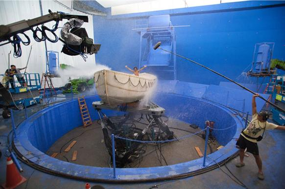 "Suraj Sharma, who portrays the title character in ""Life of Pi,"" is shown on the set in Taiwan, where the production crew built a 1.7-million-gallon water tank that generated capsizing waves to replicate Pacific storms."