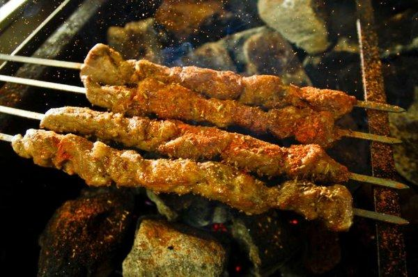 Cumin-sprinkled mutton kebabs at Xinjiang-style restaurant Omar in San Gabriel.