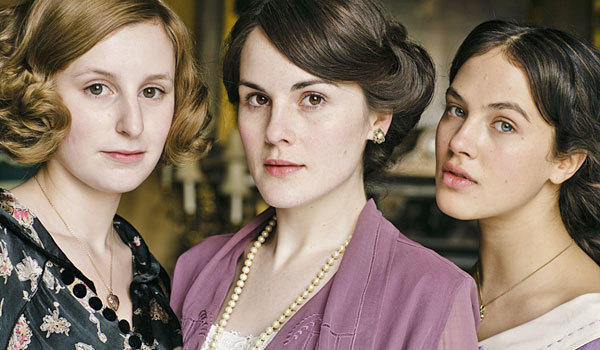 "The Crawley sisters, portrayed by Laura Carmichael, left, Michelle Dockery and Jessica Brown-Findlay in ""Downton Abbey."""