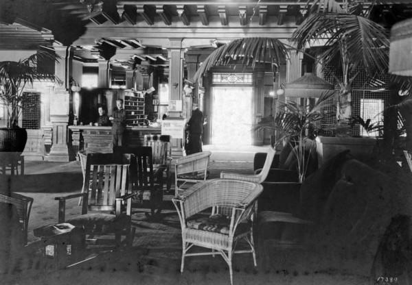 A view of the Hotel del Coronado lobby, about 1920. Although the lobby has changed over the years, its configuration remains much the same.
