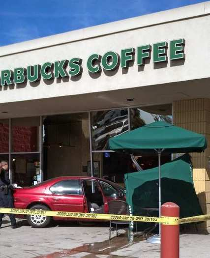 The sedan hit the Starbucks at 1703 West Glenoaks Boulevard Friday, Feb. 15, 2013. There were no serious injuries.