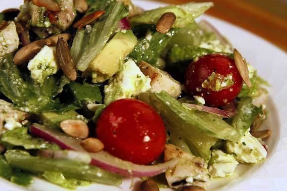 Chicken chopped salad with avocado dressing from Bluewater Grill in Redondo Beach.