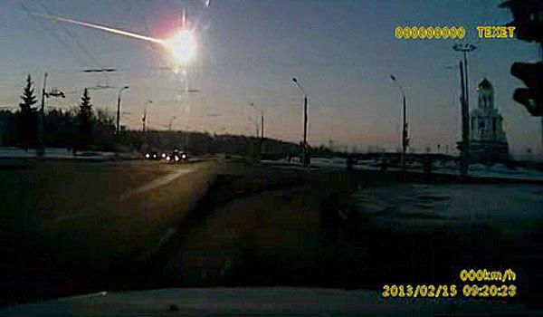 The meteor is seen in the sky over Russia.