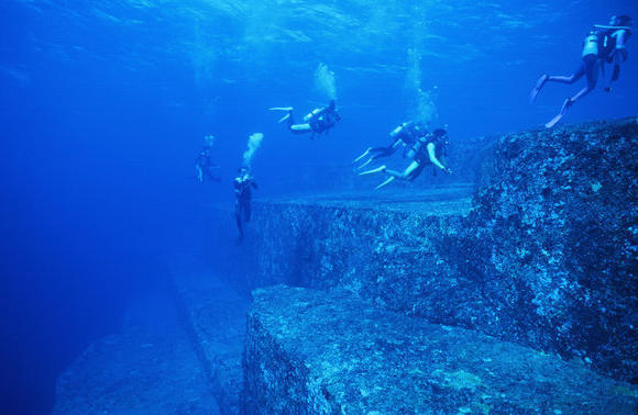 The Yonaguni Monument is a massive underwater rock formation popular with divers.