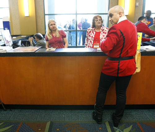 Seph, dressed as a Star Trek commander, visits from Northern California and is getting himself registered at the Grand Slam Convention: The Star Trek & Sci-Fi Summit at the Marriott Convention Center in Burbank on Friday, February 15, 2013. Seph preferred to keep his last name private.