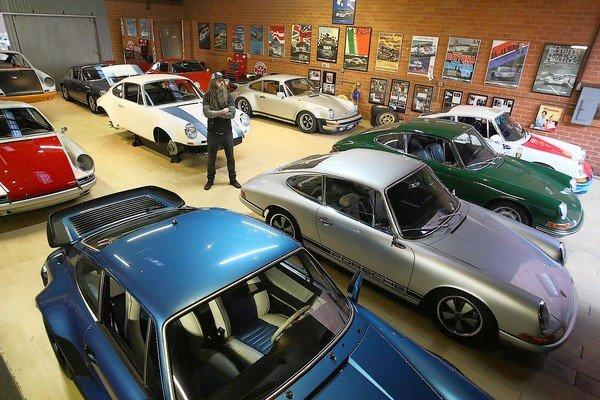 Magnus Walker with some of his vintage Porches inside his warehouse on the fringes of downtown Los Angeles' arts district in November. For more than a decade, Walker has put his custom touches on vintage Porsche 911s.