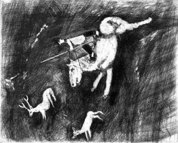 """Stag Hunting"" is one of 65 illustrations by Marc Chagall now on view at the Forest Lawn Museum in Glendale."