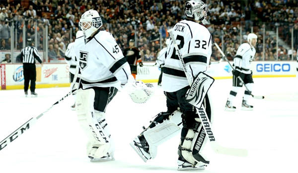 Kings goaltender Jonathan Bernier, left, will be in the nets against Columbus on Friday, his second start in a row, as Jonathan Quick (32) gets time off.