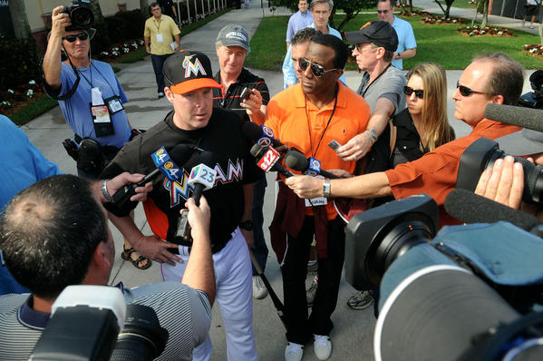 Miami Marlins manager Mike Redmond meets with reporters  during spring training in Jupiter Tuesday.