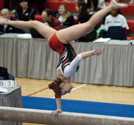 Christine Stitcher of Deerfield competes in the balance beam during the girls gymnastics state all-around finals on Friday in Palatine.