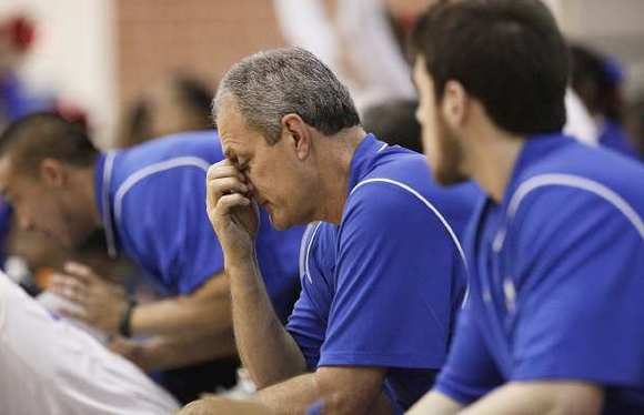 Fountain Valley Coach Roger Holmes reacts to the Barons losing to Inglewood in a first-round CIF Division 1AA game on Friday night.
