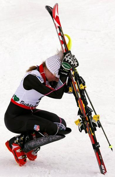 Mikaela Shiffrin, stunned by her world title in slalom.