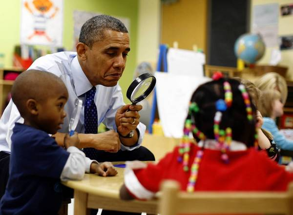 President Barack Obama, playing a game with preschoolers in Decatur, Ga., on Thursday, has made high-quality early education a priority during his State of the Union address this week.