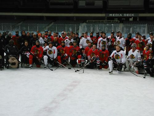 Blackhawks Skate With Wounded Veterans At Soldier Field