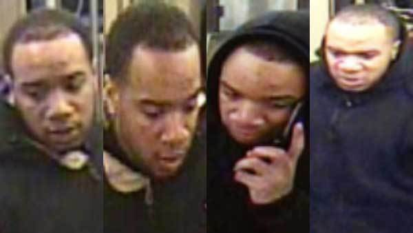 Four surveillance photos of a suspect in at least two robberies on the CTA Pink Line.