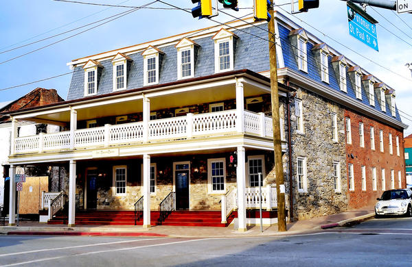 This picture shows the exterior of Inn BoonsBoro on the square in Boonsboro. The inn is owned by romance novelist Nora Roberts and her husband, Bruce Wilder.