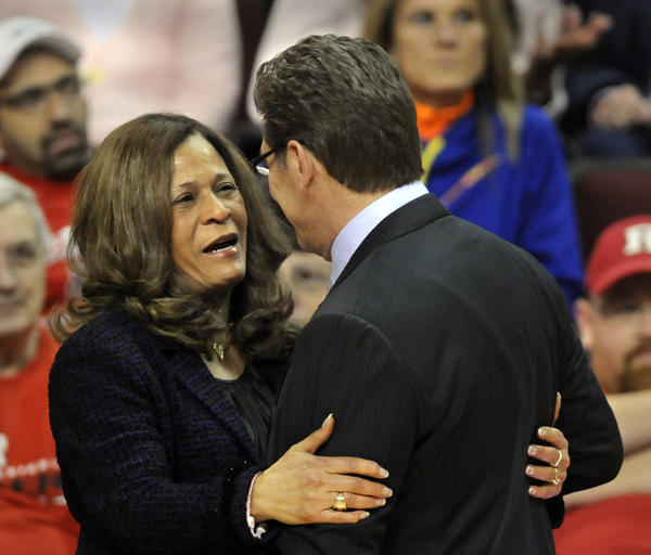 UConn coach Geno Auriemma greets Rutgers coach C. Vivian Stringer before the game Saturday. Since Rutgers is joining the Big Ten after the season, this may be the last time that they will meet.