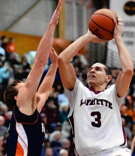 Lafayette's Tony Johnson (3) looks to score against Bucknell's Steven Kaspar (3) during a men's basketball game at Lafayette College's Kirby Sports Center in Easton on Saturday.