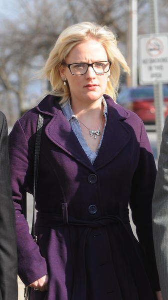 Megan Thode walks outside the Northampton County Courthouse before a judge ruled against her in her suit against Lehigh University in Northampton County Court Thursday. Judge Emil Giordano decided that the university neither breached contract nor sexually discriminated against Megan Thode, whose lawsuit sought $1.3 million in damages.