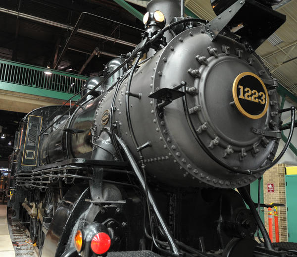 The Pennsylvania Rail Road 1223 class D16sb steam locomotive built in 1905 on display at the Railroad Museum of Pennsylvania. The museum is located across the street from The Strasburg Rail Road.