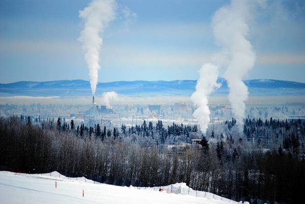 A cloud of haze and smoke over Fairbanks, Alaska, feeds growing concerns over air pollution.
