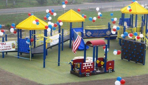 A New Jersey firefighter's union, which built this playground for a Mississippi elementary school damaged by Hurricane Katrina in 2005, now plans to build 26 playgrounds to honor the Newtown, Conn., school shooting victims.
