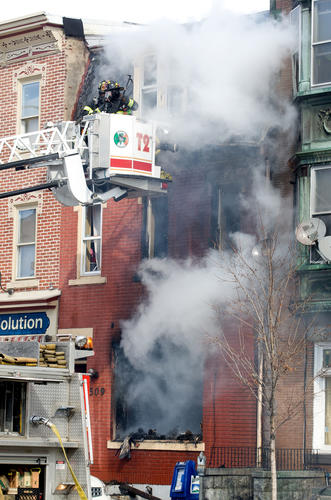 he scene of a fire in a three story row home at 7th street and Liberty streets in Allentown on Sunday afternoon. Thought to be 509 N 7th street. According to EMS officers at the scene two people were taken to the hospital suffering from smoke inhalation.